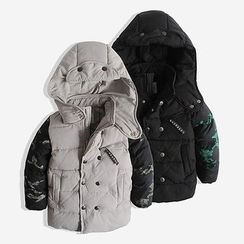 Happy Go Lucky - Kids Camo Panel Hooded Padded Coat