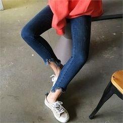 QNIGIRLS - Fringe-Hem Skinny Jeans