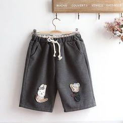 akigogo - Applique Woolen Shorts