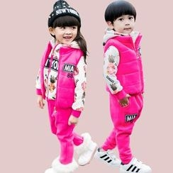 Pegasus - Kids Set : Print Fleece-lined Hoodie + Sweatpants + Vest