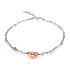 MaBelle - 14K Rose And White Gold Hollow Heart Anklet (23.5cm)
