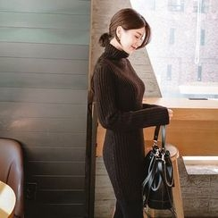 mimi&didi - Turtle-Neck Rib-Knit Mini Dress