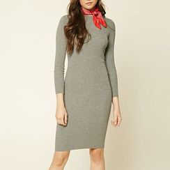 Richcoco - Plain Long-Sleeve Dress