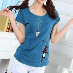 bisubisu - Short-Sleeve Cat-Print T-Shirt