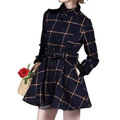 Dream a Dream - Long-Sleeve Plaid Tie Waist Coat