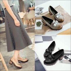 佳美 - 粗跟蝴蝶結裝飾樂福鞋
