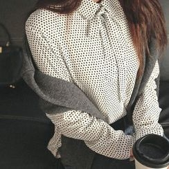 Seoul Fashion - Tie-Neck Polka-Dot Blouse