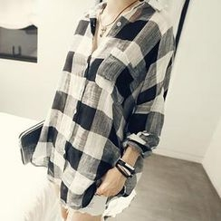NANING9 - Cotton Gingham Shirt