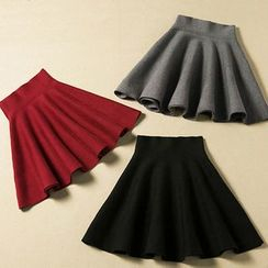 Shomez - High-Waist A-Line Skirt