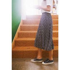CHERRYKOKO - Geometric Pattern Midi Pleat Skirt