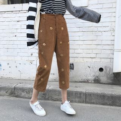 Anlay - Corduroy Loose-Fit Sequined Cropped Harem Pants