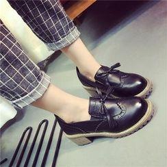 Micha - Block Heel Brogue Loafers