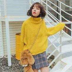 Morever - Turtleneck Distressed Sweater