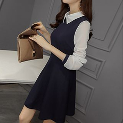 Q.C.T - Long-Sleeve Color Block Dress