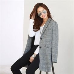 PIPPIN - Notched-Lapel Single-Breasted Plaid Jacket