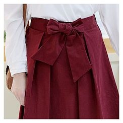Sechuna - Tie-Front A-Line Skirt
