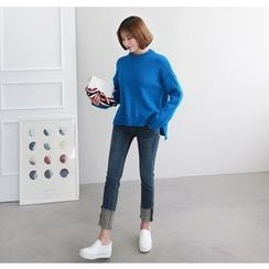 Miamasvin - Crew-Neck Wool Blend Knit Top