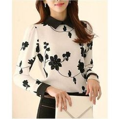 Dowisi - Long-Sleeve Embroidered Chiffon Blouse