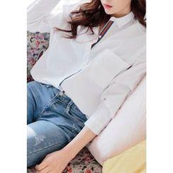 REDOPIN - Contrast-Trim Slit-Side Shirt