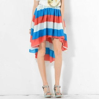 YesStyle Z - Color-Block Dip-Back A-Line Skirt