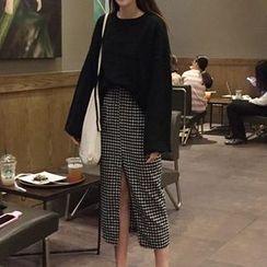 MATO - Set: Drop Shoulder Sweater + Plaid Straight Fit Midi Skirt