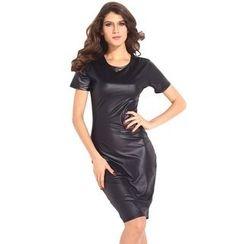 Dear Lover - Short-Sleeve Faux Leather Sheath Dress