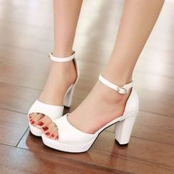 Shoes Galore - Ankle Strap Heeled Sandals