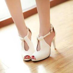 Pastel Pairs - Braided Strap Heeled Sandals