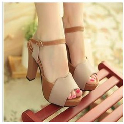 Pastel Pairs - Color-Block Platform Heeled Sandals