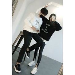 ATTYSTORY - Couple Letter Embroidered Sweatshirt