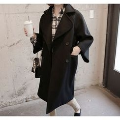 Miamasvin - Wide-Collar Double-Breasted Wool Blend Coat
