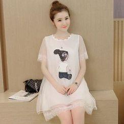 Hearty Bliss - 孕婦印花蕾絲短袖連衣裙