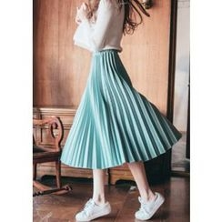 Chlo.D.Manon - Accordion-Pleat A-Line Midi Skirt