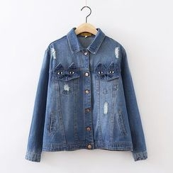 ninna nanna - Cat Embroidered Distressed Denim Jacket
