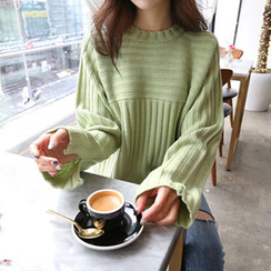 Hello sweety - Slit-Sleeve Rib-Knit Top