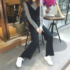 CosmoCorner - V-Neck Front-Tie Knit Jumpsuit