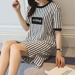 Little Lamb - Short-Sleeve Striped T-Shirt Dress