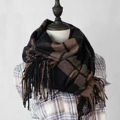 Ms Bean - Fringed Plaid Scarf