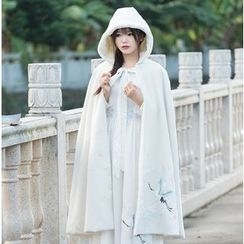 Ebbie - Crane Embroidered Hooded Long Cape