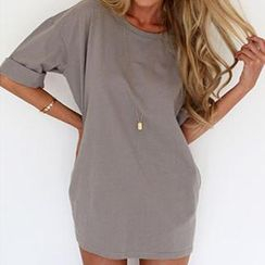 Dream a Dream - Cuffed Sleeves Oversized Chiffon A-line Dress