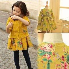 Cuckoo - Kids Floral Print Long-Sleeve Dress