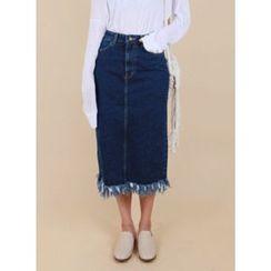 Vintage Vender - Fringed-Hem Denim Long Skirt