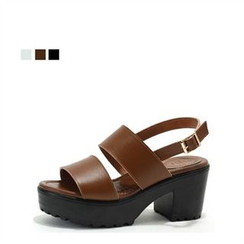 MODELSIS - Genuine Leather Buckled Platform Sandals