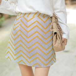 Cherryville - Patterned A-Line Mini Skirt