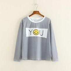 Mushi - Smiley Face Applique Pinstriped Long Sleeve T-Shirt