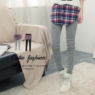 CUTIE FASHION - Inset Plaid Skirt Leggings