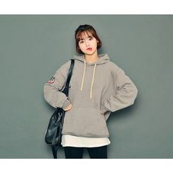 HOTPING - Patch-Detail Hooded Pullover