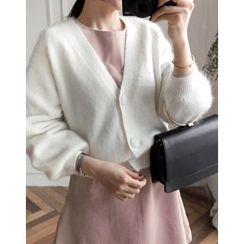 UPTOWNHOLIC - Puff-Sleeve Wool Blend Cardigan