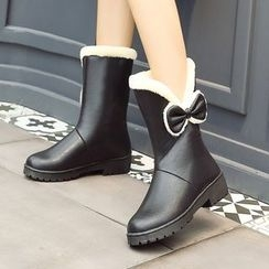 Pangmama - Bow-Accent Fleece-Lined Ankle Boots