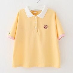 Meimei - Cookie Embroidered Short Sleeve Polo T-Shirt